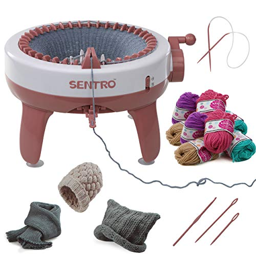 Kraftic Knitting Craft Machine, 40 Needle Knitting Loom Board with Flat and Round Weaving Options for Kids and Adults. Complete kit Comes with 10 Balls of Yarn and a Knitting Needle