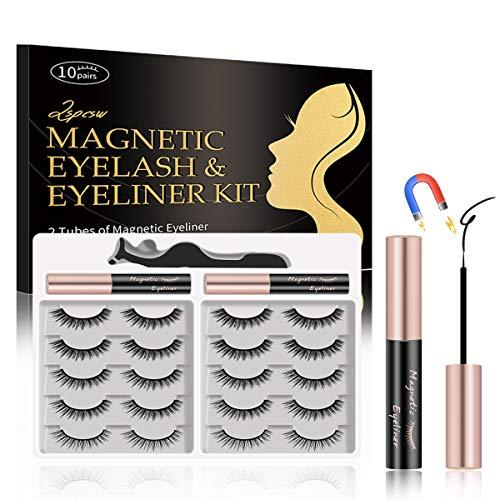 Lspcsw Magnetische Wimpern mit Eyeliner, 10 Pairs Upgraded 3D magnetische wimpern mit Pinzette im Inneren und 2 Röhren Langlebiger Magnetic Eyeliner, Wasserdichter natürlichen Look wiederverwendbare
