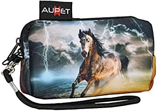 AUPET Horse Design Digital Camera Case Bag Pouch Coin Purse with Strap for Sony Samsung Nikon Canon Kodak
