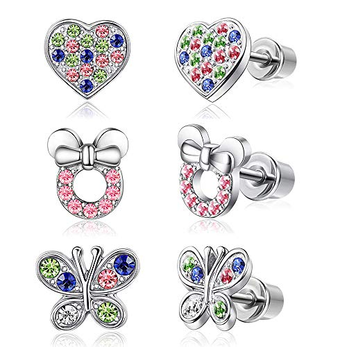 YADOCA 3-4 pares Pendientes Para Mujeres Niñas Niño Pendientes de Mickey Mouse Mariposa Corazon Pendientes Rosa
