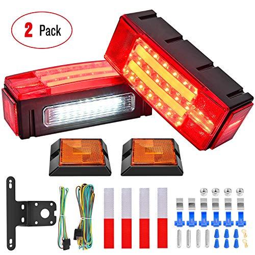 Nilight 2PCS Rectangular LED Trailer Light Kit with Halo Glow Submersible LED...