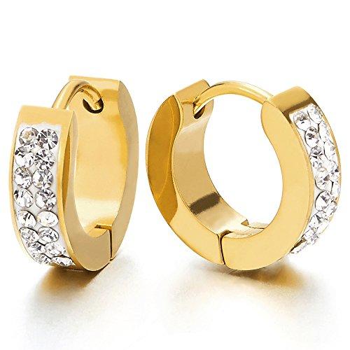 2 Color Oro Pendientes del Aro con Zirconio Cúbico, Pendientes para Hombres Mujer, Acero Inoxidable