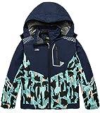 ZSHOW Boy's Hooded Ski Jacket Windproof Winter Parka Rain Coat(Navy+Blue Camouflage,14-16)
