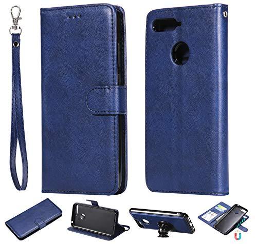 nancencen Kompatibel mit Huawei Y6 2018 / Honor 7A Handyhülle, Magnetische TPU 2 in 1 Wallet (Karten Slot) Schutzhülle PU Leder Flip Cover Lederhülle Hülle - Blau