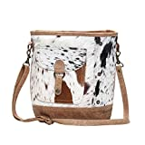 Genuine Hair-On Cowhide Leather Crossbody Bag with Front Pocket