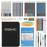YISSVIC 75PCS Crayons de Dessin Crayons de Couleur Kit de Croquis Dessin avec Sac Professionelle Inclus Aquarelle Métallique Crayons de Couleur et Materiel Dessin Idéal Cadeaux pour Adulte Enfant