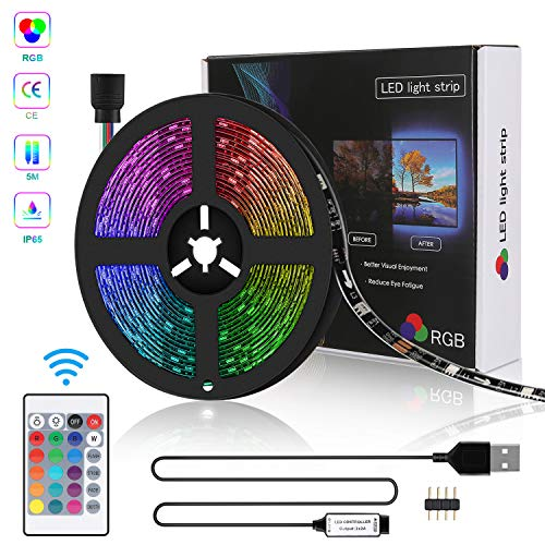 Tira LED 5M USB, Zorara Tiras Led Iluminación RGB con Chip SMD 5050 Tira de LED Retroiluminación de TV IP65 150 LED Multicolor Control Remoto de 24 Botones [Clase de eficiencia energética A+]