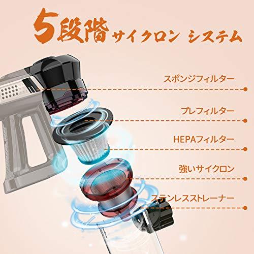 コードレス掃除機35-45分間稼働12kpa超軽量強弱切替2モードサイクロン式4in1LEDライト付き伸縮パイプスティッククリーナーPSE認証済み-INSEN6