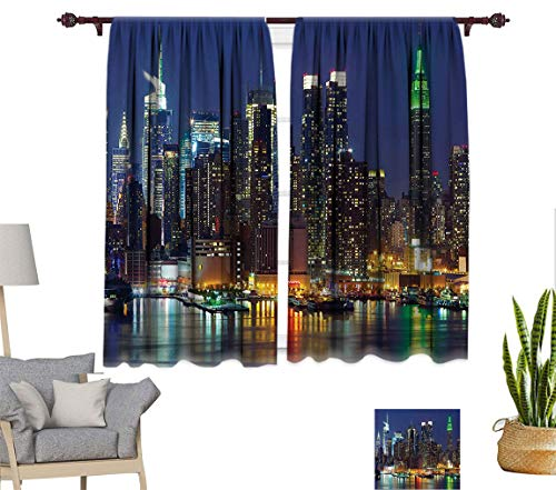 """New York Decor Soundproof Curtain, NYC Midtown Skyline in Evening Skyscrapers Amazing Metropolis City States Photo Window Treatment Panel for Bedroom, Each Panel 31.5"""" W x 72"""" L Royal Blue"""