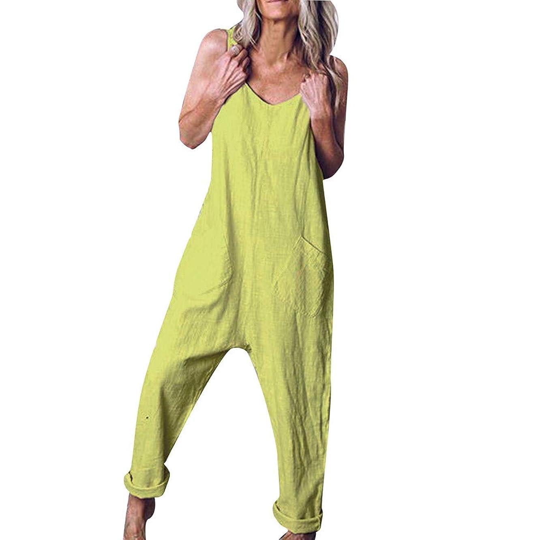 F_tupbu Womens Jumpsuits Casual Linen Women Casual Plus Size Sleeveless Soild Loose Sling Vest Overalls Jumsuit Romper