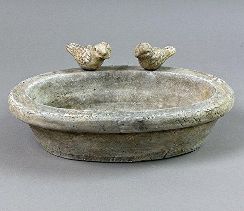 Ovale Vogeltränke Keramik glasiert creme- grau 2 Deko- Vögel Antik- Look