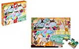 Janod - Puzzle Enfant Tactile 20 Pièces - Thème Zoo - Effets Textures - Apprentissage du Toucher - Dès 2 ans, J02774