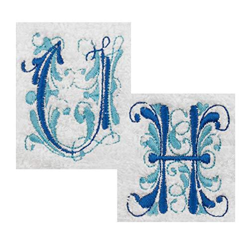 Bademantel mit Stickerei (L, weiß, Initialen Blau) – bestickter Bade-Mantel mit verschiedenen Stick-Motiven – personalisiert mit Deinem Wunschnamen oder Initialen