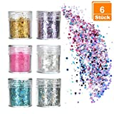 Pretop 6 x Glitzer Make up Set | Glitzer für Musik Festival, Masquerade, Halloween, Party,...