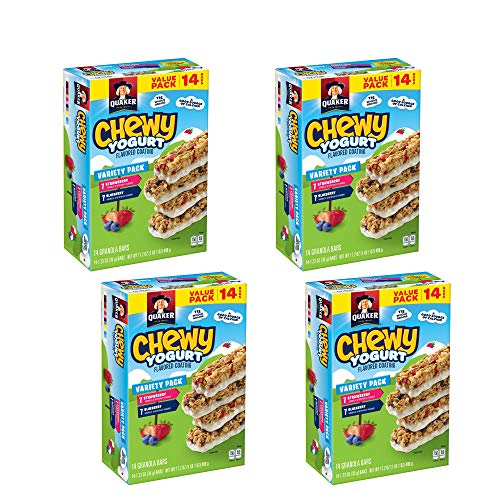 Quaker Chewy Yogurt Granola Bars, Variety Pack, 14 Count - Pack of 4