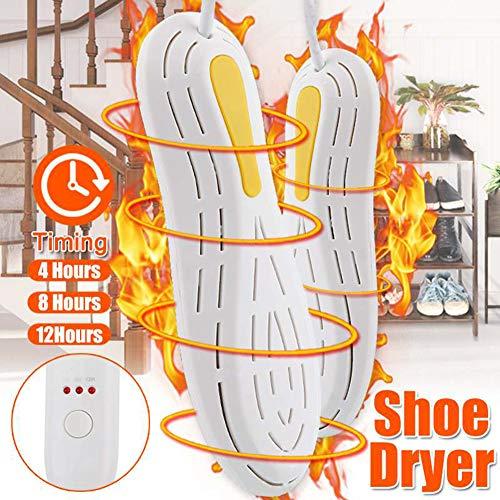 Lya Elektrische schoenendroger, schoenendroger met timer en automatische uitschakeling, 3 verstelbare vakken, geschikt voor pantoffels/sneeuwlaarzen/zeilschoenen