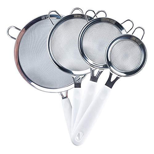 DDHZTA Acero inoxidable 304 Harina de tamiz tamiz de malla ramen de mano de filtro fino azúcar en polvo tamiz horneado herramienta