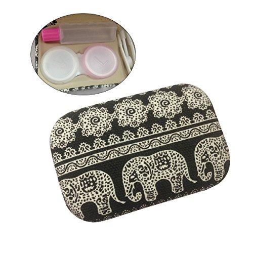 Rosenice Kontaktlinsenbehälter Elefant Print Kontaktlinsen Reise-Set mit Spiegel