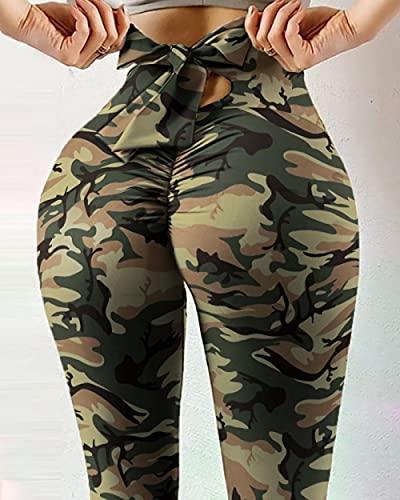 ArcherWlh Leggings Mujer,Cuerda de Lazo de la impresión Digital Caliente de la Cuerda Apretada de la Cintura Altas Pantalones de Yoga Femenino de la succión de Alto elástico-# 4_Metro
