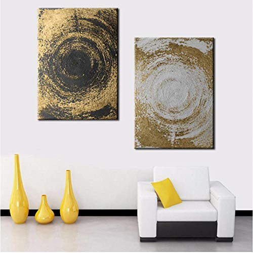 agwKE2 Nordic Canvas Painting Round Lines Color Gradient Level Imagination Abstract Dark Universe Pictures Wall Art Posters Home Decor 40x60cmx2 unframed
