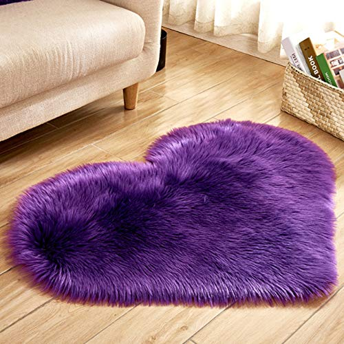 40 x 50cm Small Heart Shape Faux Sheepskin Rug Soft Long Plush Fluffy Shaggy Carpet Area Mats Rugs Bedroom Sofa Decorative Floor Carpet