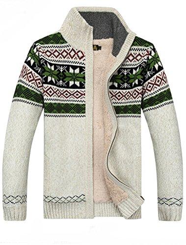 MatchLife Herren Reißverschluss Pullover Drucken Mantel Style2 M Apricot Fleece