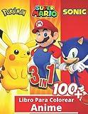 3 en 1 Anime Libro para colorear: +100 fotos de alta calidad, Libro especial para colorear para niño...