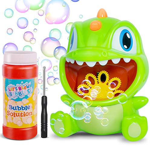 Desuccus Bubble Machine, Dinosaur Automatic Bubble Maker 1000+ Per Minute, Bubble Blower for Kids Toddlers Boys and Girls, Easy to Use for Outdoor Parties Wedding Birthday Baby Bath Toys