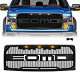 Matte Black Front Grill for F150 2009 2010 2011 2012 2013 2014, Raptor Style Grille, Amber LED Lights, Replaceable Letters