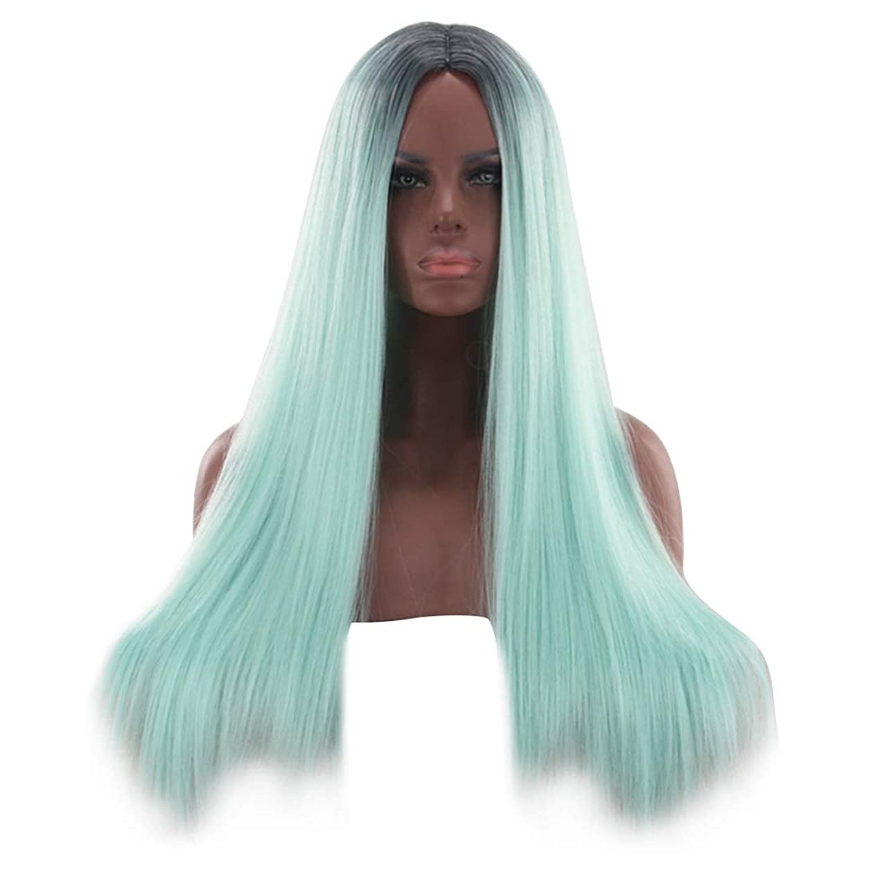 発掘する分従事するHOHYLLYA 26インチブロンドグリーンレースフロントウィッグ前髪ロングストレートウィッグ女性用合成かつらウィッグ女性用かつら耐熱ファイバーファッションウィッグ