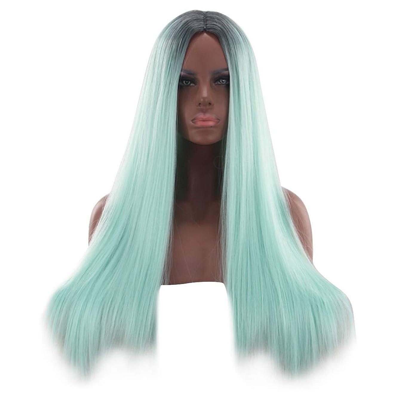 ラケット応答はっきりとYrattary 26インチブロンドグリーンレースフロントウィッグ前髪ロングストレートウィッグ女性用合成かつらウィッグ女性用かつら耐熱ファイバーファッションウィッグ