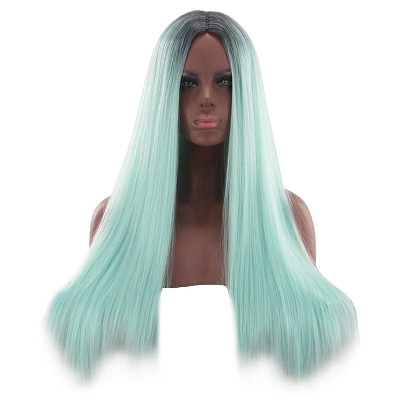 カポックランク反乱HOHYLLYA 26インチブロンドグリーンレースフロントウィッグ前髪ロングストレートウィッグ女性用合成かつらウィッグ女性用かつら耐熱ファイバーファッションウィッグ
