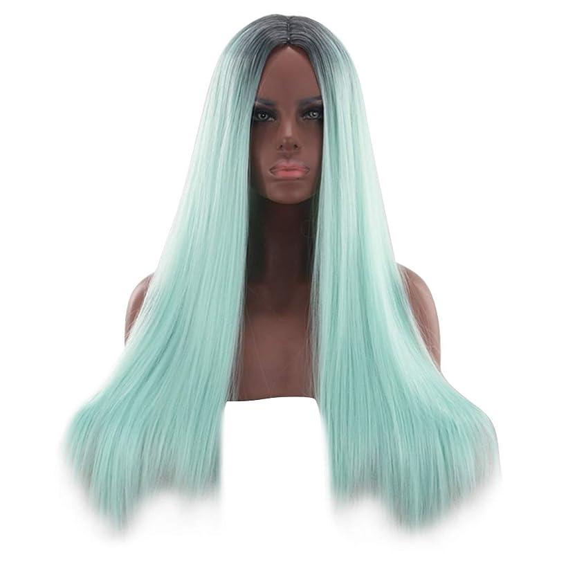 かつら 26インチブロンドグリーンレースフロントウィッグ前髪ロングストレートウィッグ女性用合成かつらウィッグ女性用かつら耐熱ファイバーファッションウィッグ