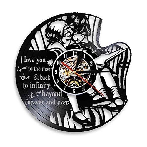 GenericBrands Disco de Vinilo Reloj de Pared te Amo hasta la Luna Regalo Hecho a Mano 12' Vinilo Hueco CD Reloj de Cuarzo silencioso Pared LED con o sin luz LED para Elegir - Sin luz LED