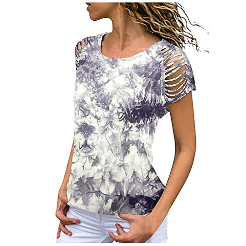VEMOW Camiseta Mujer Blusas Camisole Corta Manga Corta Sólido con Cuello O Tops(YE Gris,XXXL)