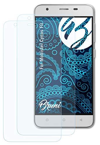 Bruni Schutzfolie kompatibel mit Mobistel Cynus F9 Folie, glasklare Displayschutzfolie (2X)