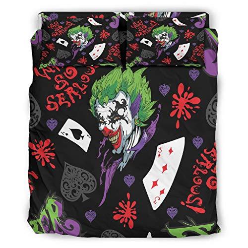 WellWellWell Juego de cama de 4 piezas con diseño de Joker de Halloween, resistente, con cremallera, incluye 1 funda nórdica y 1 funda de almohada, color blanco, 228 x 264 cm