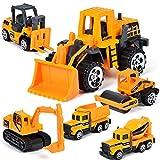 yywl Vehículos de Construcción 6pcs/Set Mini Aleación Diecast Vehículos de Construcción Modelo Excavadora Bulldozer Tractor Dump Roller Ingeniería Coche Niños Juguete Clásico