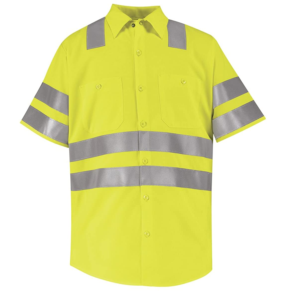 高層ビル行う接ぎ木Red Kap hi-visibility作業シャツ?–?クラス3レベル2、蛍光イエロー/グリーン、sslxl