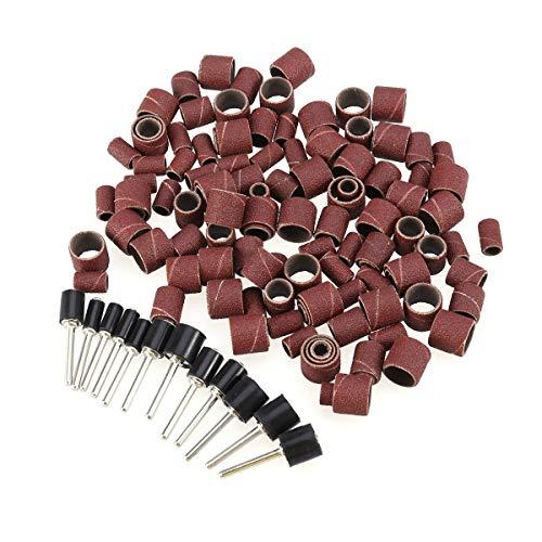 BESTOMZ - Cinta de lijado para tambor con mandriles para herramientas Dremel giratorio, 132 unidades