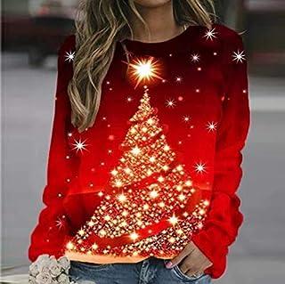 SDJYH, Sudaderas con Estampado de árbol de Navidad de Talla Grande para Mujer, Camisetas de Manga Larga con Cuello Redondo...