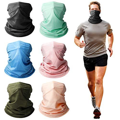 EOOIO 6PCS Neck Gaiter Face Cover Mask for Men Women, Reusable Bandana Balaclava Headwear for Fishing Hiking Running