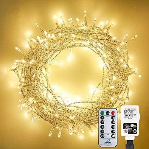 30M 300 LED Lichterkette Außen, Othran Warmweiß Lichterkette Innen Strombetrieben Mit Fernbedienung, 8 Modi & Timer, IP44 Wasserdicht, Outdoor Lichterkette Für Weihnachten, Party, Garten, Zimmer