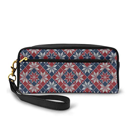 Pencil Case Pen Bag Pouch Stationary,Wool Knit Pattern with Tartan Geometric Stripes Flower Figures Print,Small Makeup Bag Coin Purse