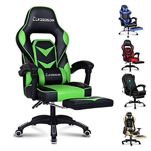 ELFORDSON Gaming Chair Racing Chair Executive Sport Home Office Chair with Footrest PU Leather Armrest Headrest(Gordon Green)