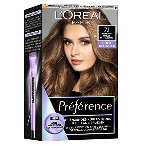 L'Oréal Paris Permanente Haarfarbe mit kühlem Farbergebnis, Haarfärbeset mit Coloration und Anti Gelbstich Pflegebalsam, Préférence Cool Blondes, Nr. 7.1 Kühles Mittelblond...
