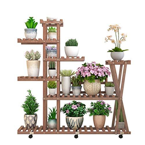 Supports à Fleurs Support à Chaussures Rangement à Plantes Échelle pour Plantes Présentoir à Fleurs Clôture en Bois antiseptique Intérieur et extérieur Taille du Support 105x117x72 Cm