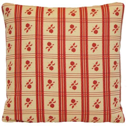 Rouge Carreaux et fleurs traditionnel Design Housse de coussin décorative en Toile françaises Henrietta Spencer