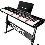TERENCE Pianos digitales con 61 teclas semi-ponderadas y batería de 1800mAh Teclado iluminado interfaz MIDI USB con Bluetooth soporte para partituras bolsa adhesiva cable de audio soportes auriculares