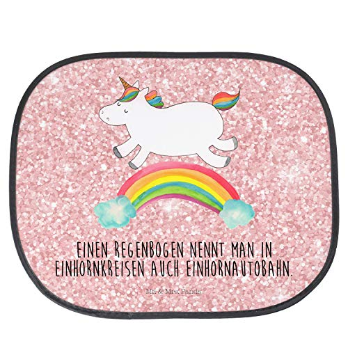 Mr. & Mrs. Panda Rücksitz, Familie, Auto Sonnenschutz Einhorn Regenbogen mit Spruch - Farbe Glitzer Rosa